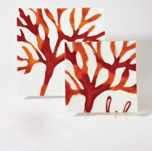 "Square Fused Glass Coral Plate  GV1.10132  21x2""h  GV1.10133  15.5x1"