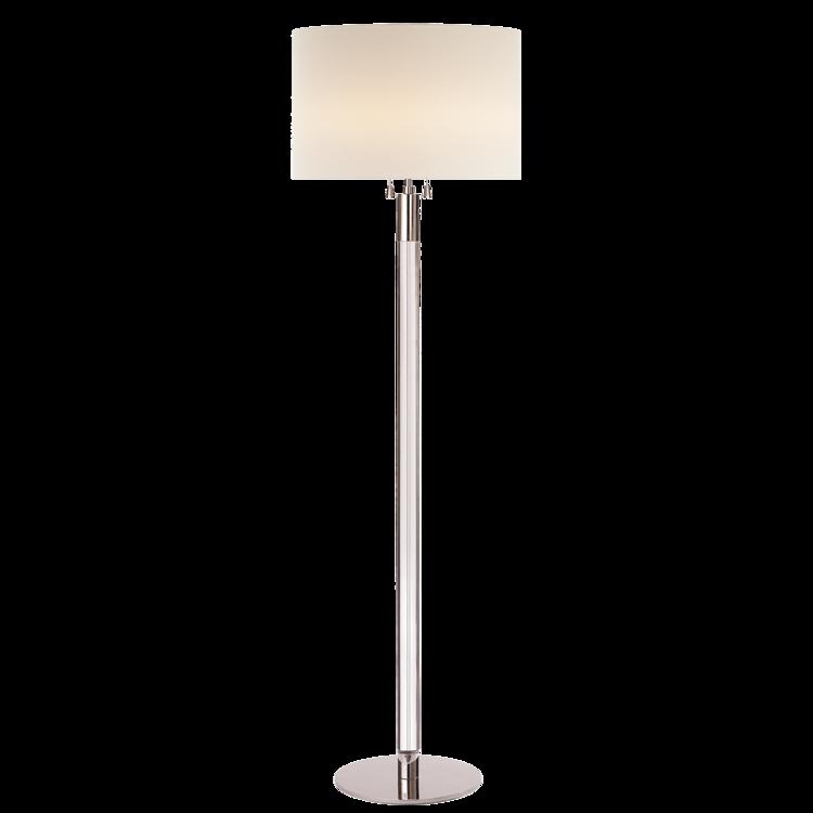 "Riga Floor Lamp in Polished Nickel/Crystal w/ linen shade  20dx60""h  VCARN1005PN-L"