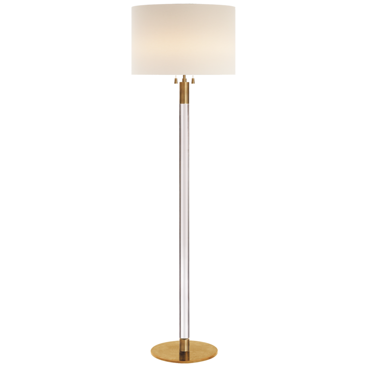 "Riga Floor Lamp in Hand Rubbed Antique Brass/Crystal w/ Linen Shade  20dx60""h  VCARN1005HAB-L"