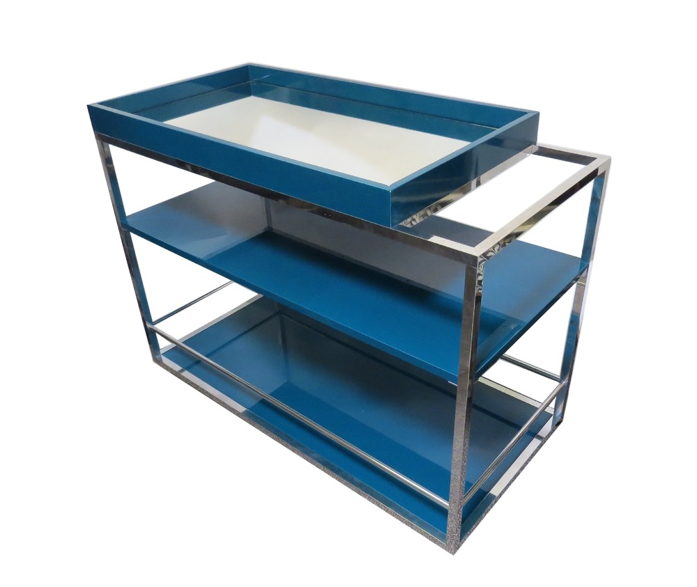 Cube Bar Cart, Lacquered Wood/Mirror, Petrol  39.5x19x30h  RLBC002PE