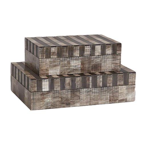 Striped Horn Box  GV7.90615  10.5x6.5x3.5h  GV7.90614  13.5x9.5x3.75h