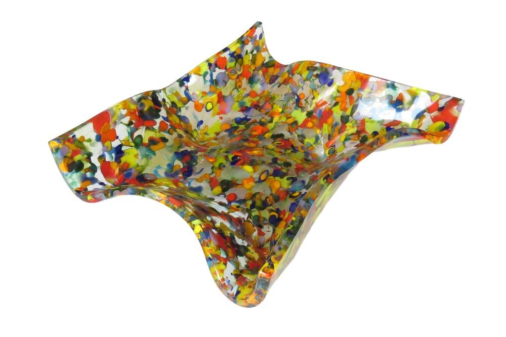 Glass Square Wavy Bowl, O. Quagliata  15x14x7h  OQBRAIN
