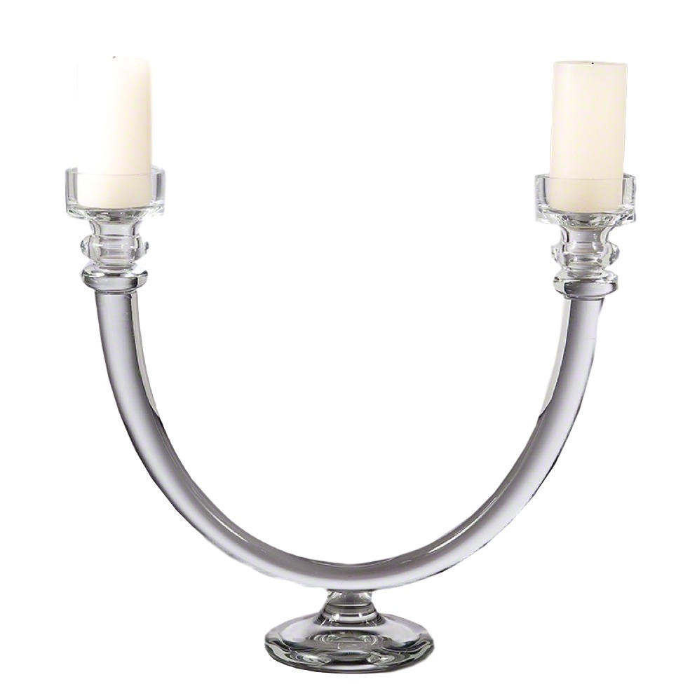 Glass Tube Candelabra 22×6x18.5h GV1523  Candles Sold Separately