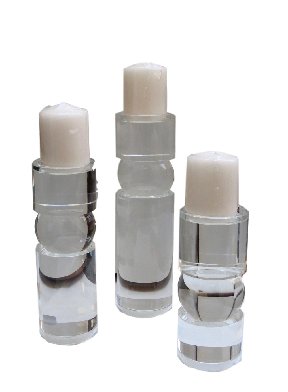 Cylinder/Ball Crystal Candle Stand  4dx9h  GV8.81567  4dx11h  GV8.81566  4dx14h  GV8.81565  Candles Sold Separately