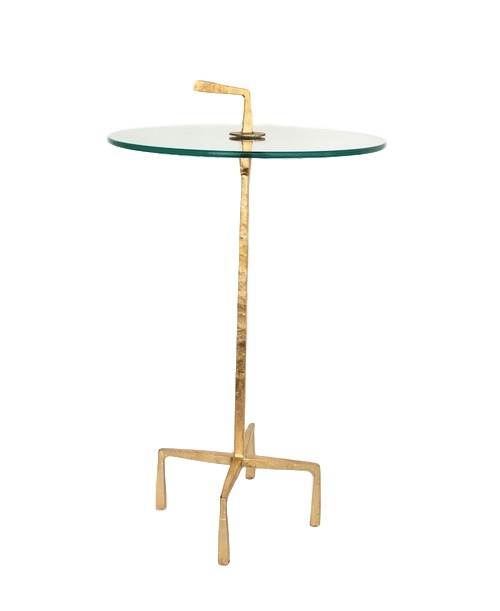 Quad Pod Accent Table in Gold Leaf/Iron Iron   16dx26h   GV7.80217