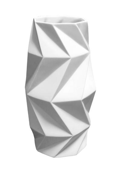 Porcelain Faceted Vase  7dx14.5h  BUPTWYL
