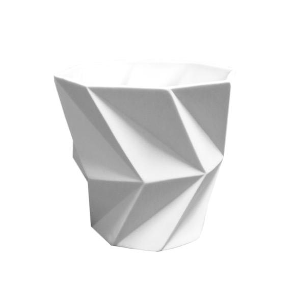 Small Porcelain Faceted Vase  6x6  BUPTWYS