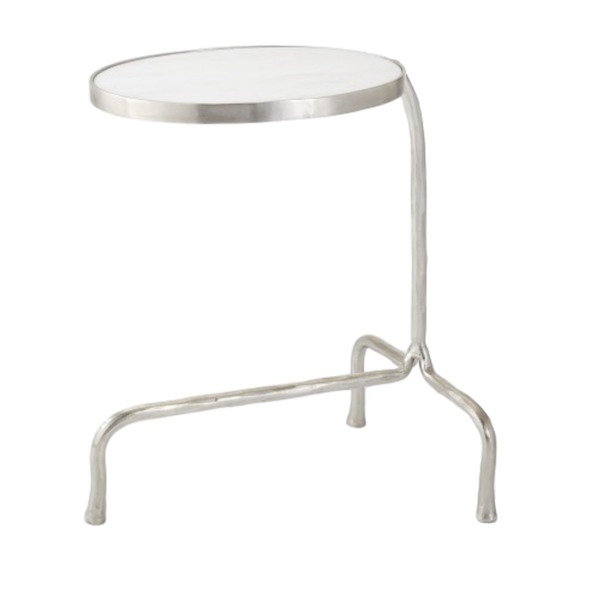 Cantilever Table Nickel Finish/Iron w/White Marble  20x15x23h  GV7.90617