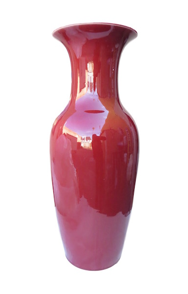 Porcelain Oxblood Fishtail Vase  8dx22h  DHD0150