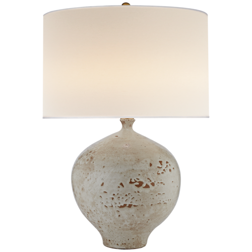 "Gaios Table Lamp in Pharaoh White w/ Linen Shade 21x30.5""h VCARN3610PHW"