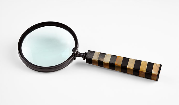 "Horn Striped Magnifying Glass 14"" CD7052"