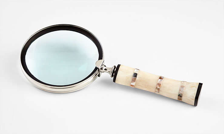 "Bone/MOP Magnifying Glass 13"" CD7053"