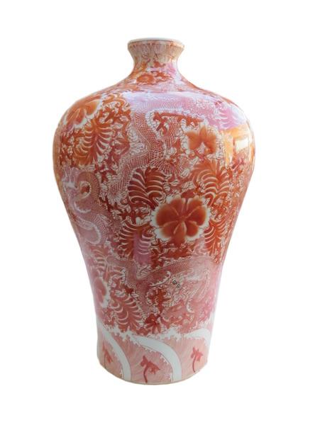 Cinnamon Porcelain Plum Vase 12dx22h OP217