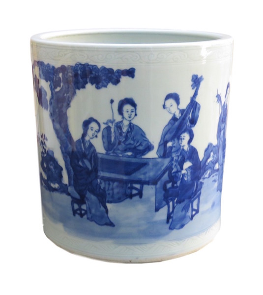 Chinese Blue & White Brush Pot 8dx8h OP224
