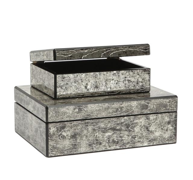 Eglomisé Woodgrain Box, Black MGLARKBS 9.5x7.5x4h  MGLARKBL 13x10x4.5h