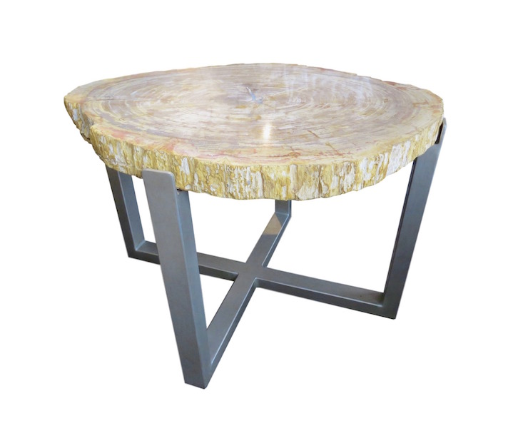 Petrified Wood/Hot Roll Steel Hand Forged Table, Platinum  30x26s22h +/-  VO483AA