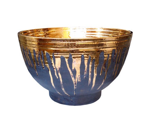 "Matte Black Ceramic Bowl w/23k Gold Glaze  21dx15""h  TA"