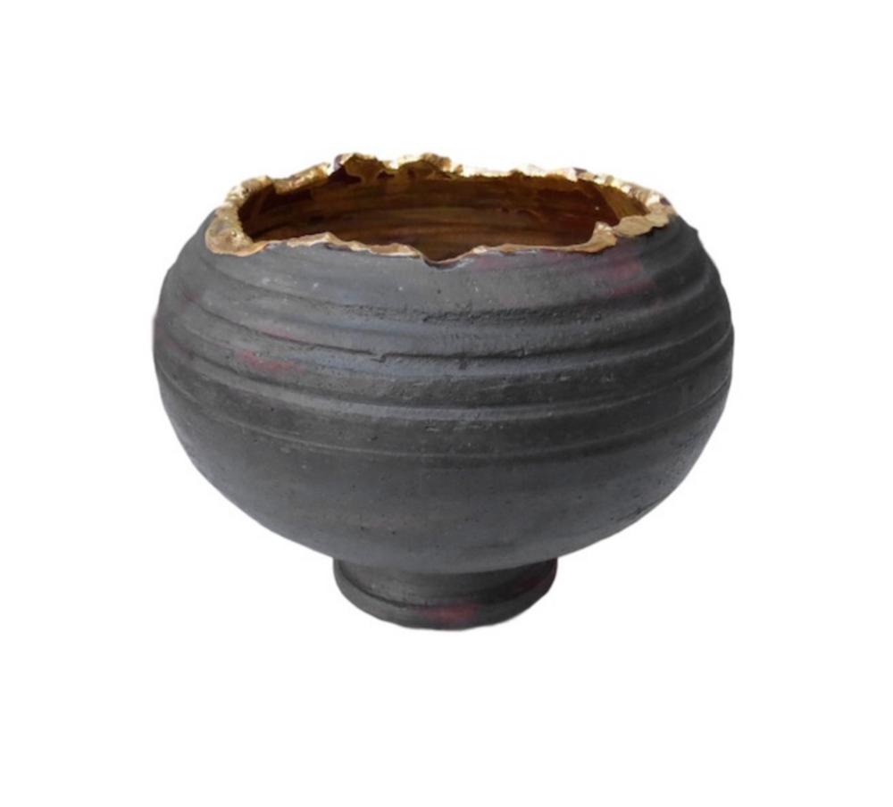 """Tatiana, Small Open Top Foot Vessel, Ceramic Black/24k Gold Gaze  6.25x5""""h  TA0355"""