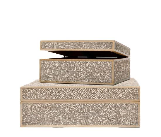 "Sand Faux Shagreeen Box  MGCOOPSS  7x9x4""h  MGCOOPSL  12.5x10x4.5""h"