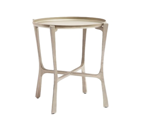 Tray Table, Aged Silver Finish/Iron  24dx24h  MGADDLAS
