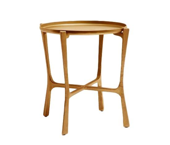 Tray Table, Aged Brass Finish/Iron  24dx24h  MGADDLBR