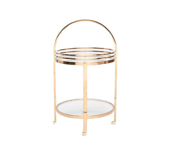 Round Bar Cart, Polished Gold Steel/Glass  22dx39h  MGLORNEG