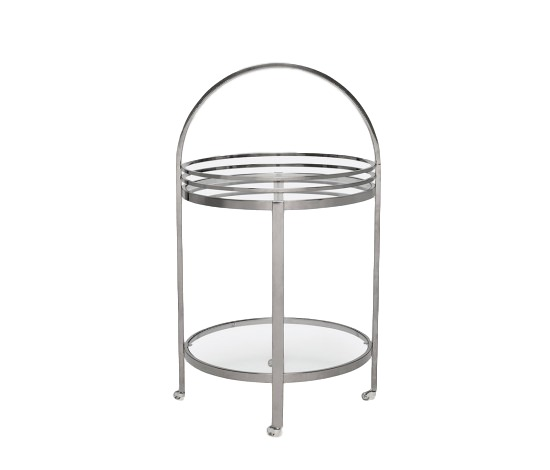 Round Bar Cart, Polished Black Steel/Glass  22dx39h  MGLORNEB