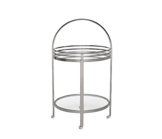 Round Bar Cart, Polished Black Steel/Glass  22dx39h  MGLORNEB
