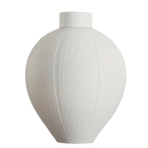 Linen Textured White Ceramic Jar/Lid 17dx22.5h  GV7.10172