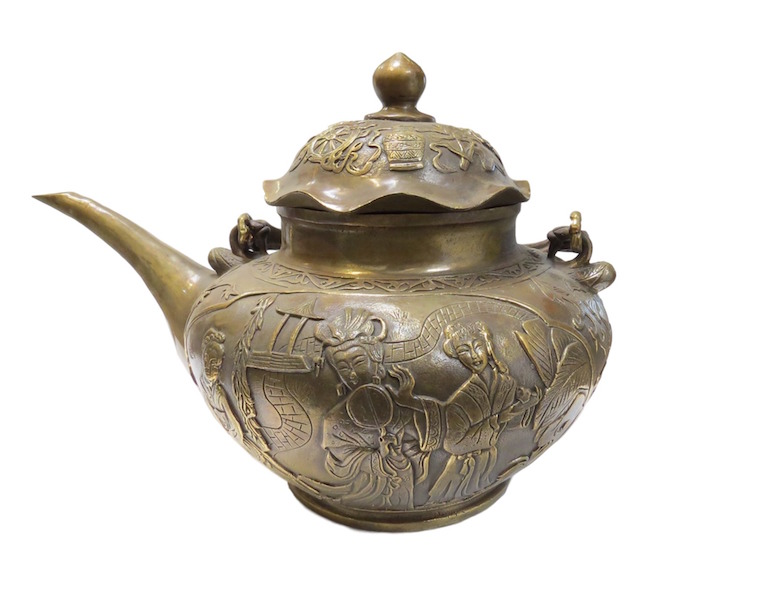 Vintage Chinese Bronze Tea Pot  12x9x9h  OP236