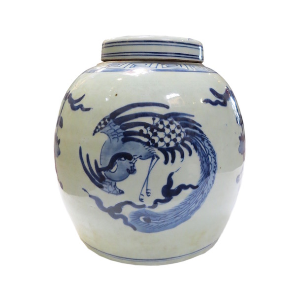 Blue & White Porcelain Ginger Jar  10dx12h  OP055C
