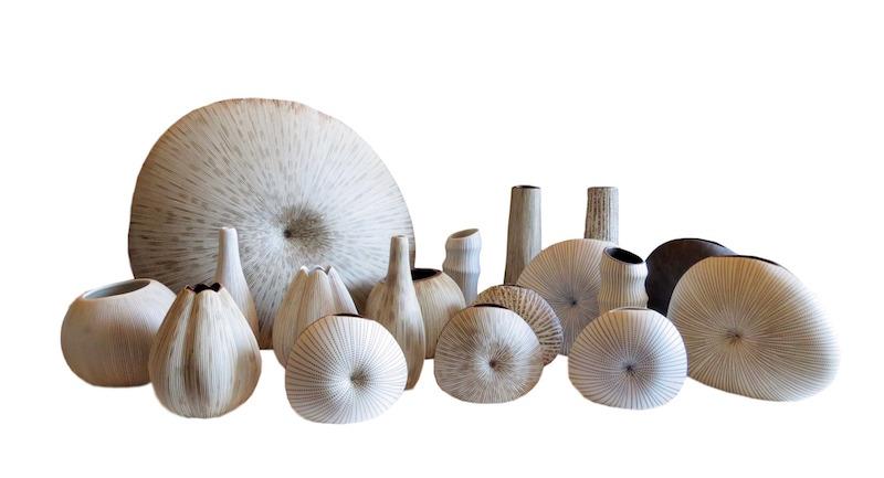 Assorted Line patterned Ceramic Vases  FT