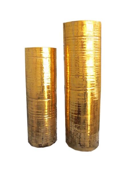 Tatiana, Cylinder Vase 22k Gold Glaze  TACYLM  6dx20h  TACYLL  7dx25h