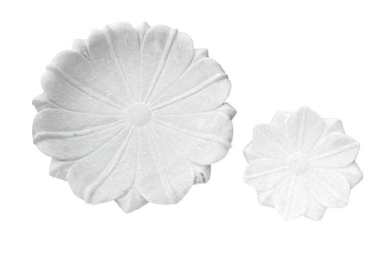 Carved White Marble Flower Dish  CD7155  11.5dx3h  CD7154  6dx1.5h