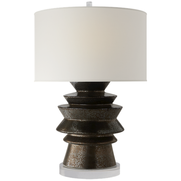 Stacked Disk Table Lamp in Crystal Bronze w/Natural Percale Shade  19.5x29h  VCCHA8693CBZ-PL