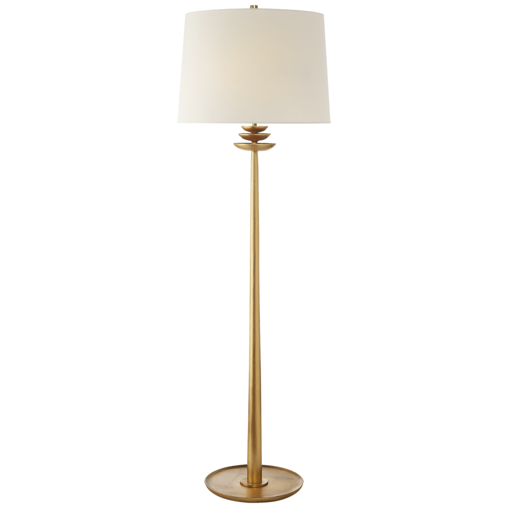Beaumont Floor Lamp Gold w/Linen Shade  19dx62-65h  VCARN1301G-L