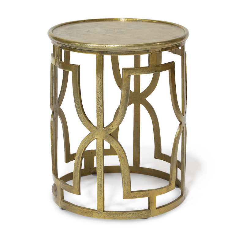 Gold Cut Out Side Table Metal  17dx21h  P644653