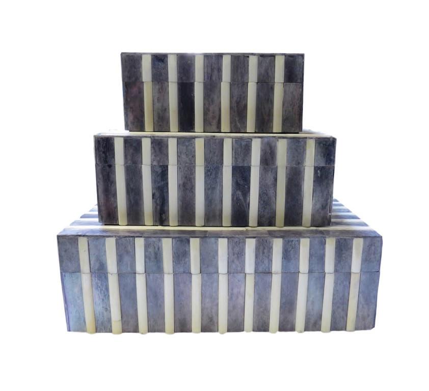 "Ribbed Gray and Natural Bone Box  BIW722S  5x7x3""h  BIW722M  9x7x3.5""h  BIW722L  12x10x4""h"