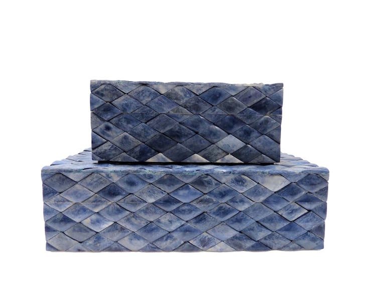 Blue Diamond Dyed Bone Box  BIJ595S  7x5x3h  BIJ595L  10x7x3h
