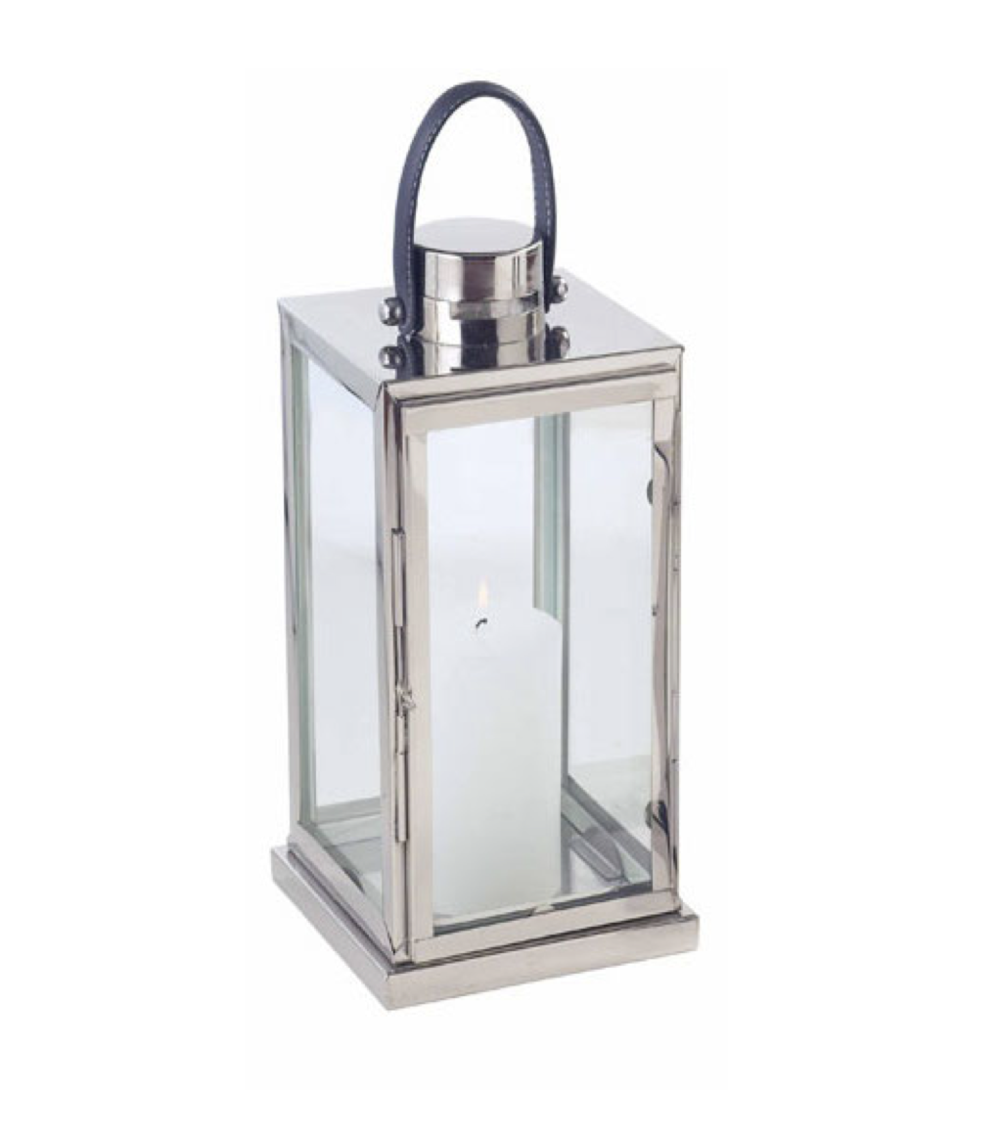 Stainless Windsor Lantern w/Grey Leather Handle  7x7x19h  CA282813  Also available with tan leather handle