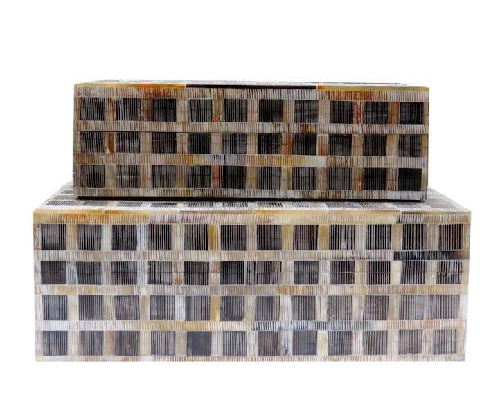 Etched Horn Checkerboard Box  BIJ102S  9.5x4.5x3.5h  BIJ102L 11x7x4h