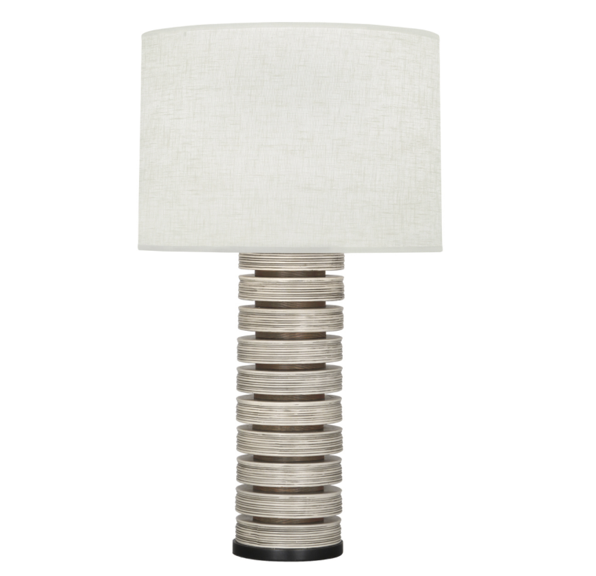 Stacked Berkley Table Lamp, Wood/Ceramic w/Linen Shade  17x30.5h  RA572W