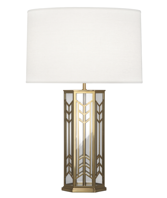 Octavious Lamp, Brass/Glass w/Linen Shade  18dx29h  RA3386