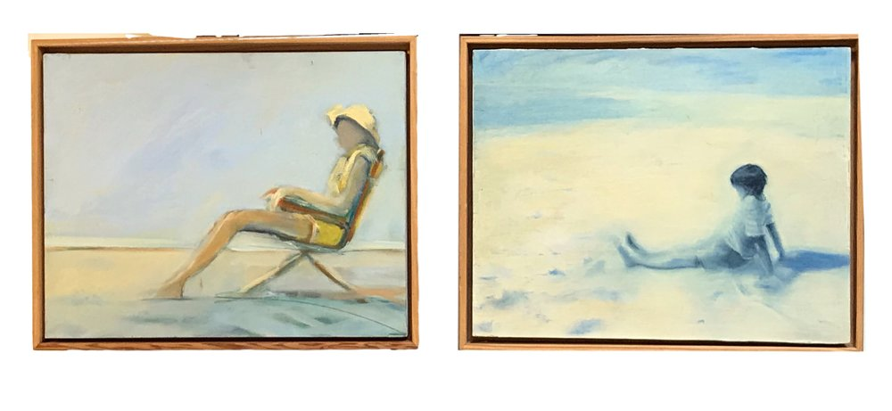 "Nancy Crawford ""Woman on Beach,"" Oil on Board  12"" x 15""  NC12X15     Nancy Crawford ""Boy on Beach"", Oil on Board  12"" x 15""  NC12X15"