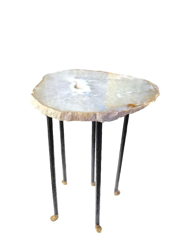 Grey/Brown Agate Table, 5 Skinny Tapered/Textured Leg  14x16x22h, Bronze/Gold Feet  VO519AA
