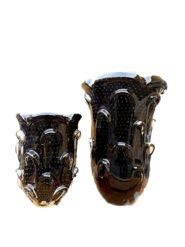 Large Glass Aspente Vase, Black  10.5x16h  RL505L  Glass Aspente Vase, Black  7.5x11h  RL505S