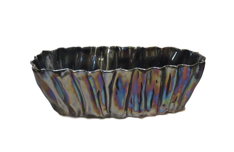 Fluted Ceramic Planter, Petrol Pearly Luster  16x7x8h  EU146022PP