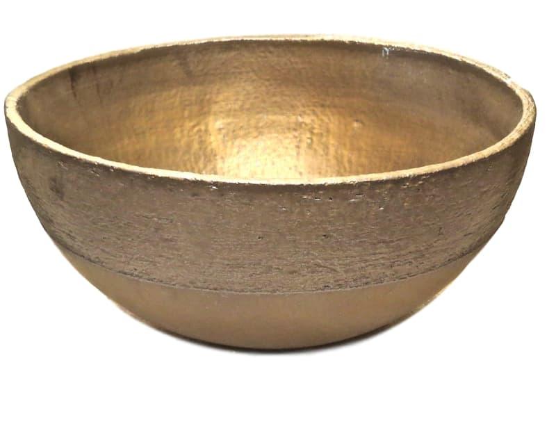 Large Ceramic Bowl, Gold/Bronze  19dx10h +/-  EUMIKAS50B