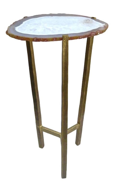 Agate/ Iron Spot Table, Antiqued Gold  10x8x24h  JS031AA