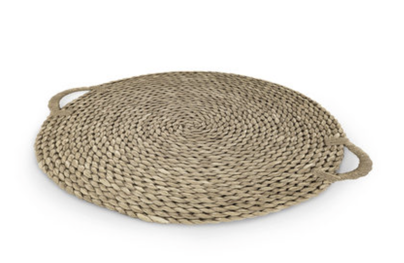 Oversized Hyacinth/Rattan Round Tray  36dx1.5  P107819